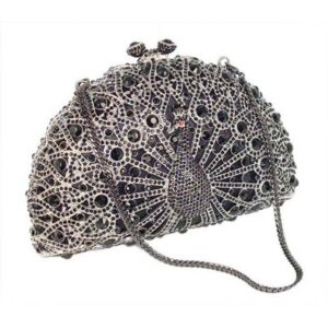 Jewelled Peacock Evening Bag - Black/Silver