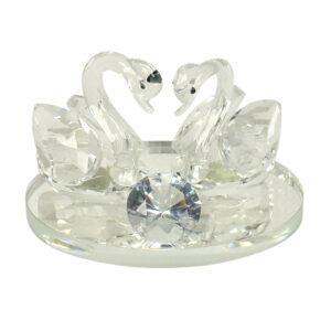 K11 Crystal Swans Pair w/Clear Diamond