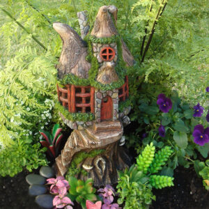 Solar Fairy Garden House w/Staircase - 30cm
