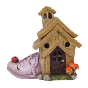 Fairy House w/Ladybug Shoe - 13cmL