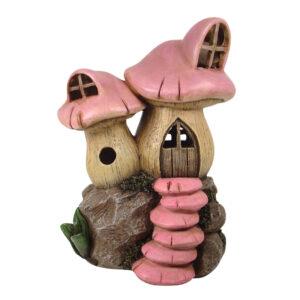 LED Twin Mushroom House - 17.5cm - Pink