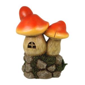 LED Twin Mushroom House - 17.5cm - Red