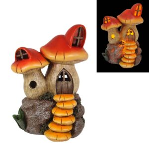 LED Twin Mushroom House - 17.5cm - Red
