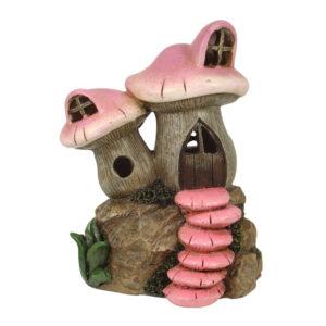 Twin Mushroom House - 13.5cm - Pink