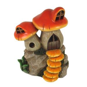 Twin Mushroom House - 13.5cm - Red