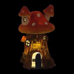 Solar Mushroom Fairy House w/Opening Door