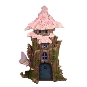 Solar Fairy Flower House 28cm - Pink