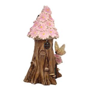 Solar Flower Fairy House 23cm - Pink