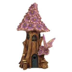 Solar Flower Fairy House 23cm - Purple