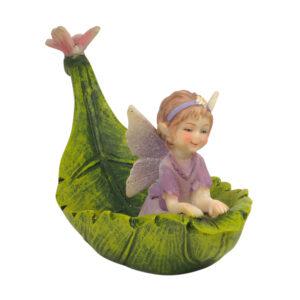 Magic Fairy in Leaf Boat - 14cmL