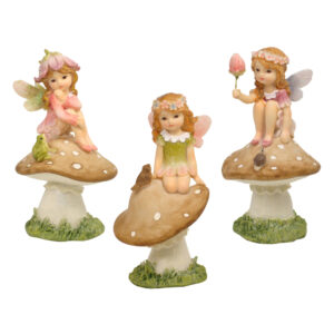 Flower Garden Fairy on Mushroom - 3 Assorted - ETA 7/11/17