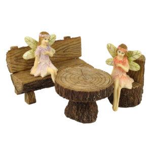Fairy Garden Furniture - Resin Log Set of 3