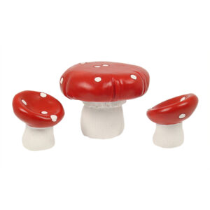 Fairy Garden Furniture - Red Mushroom Set of 3