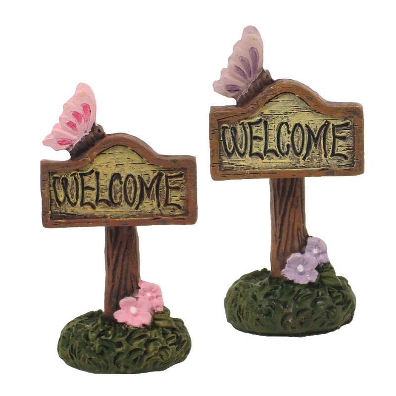 Enchanted Garden Miniatures - Hang-Sell - Butterfly Welcome Sign