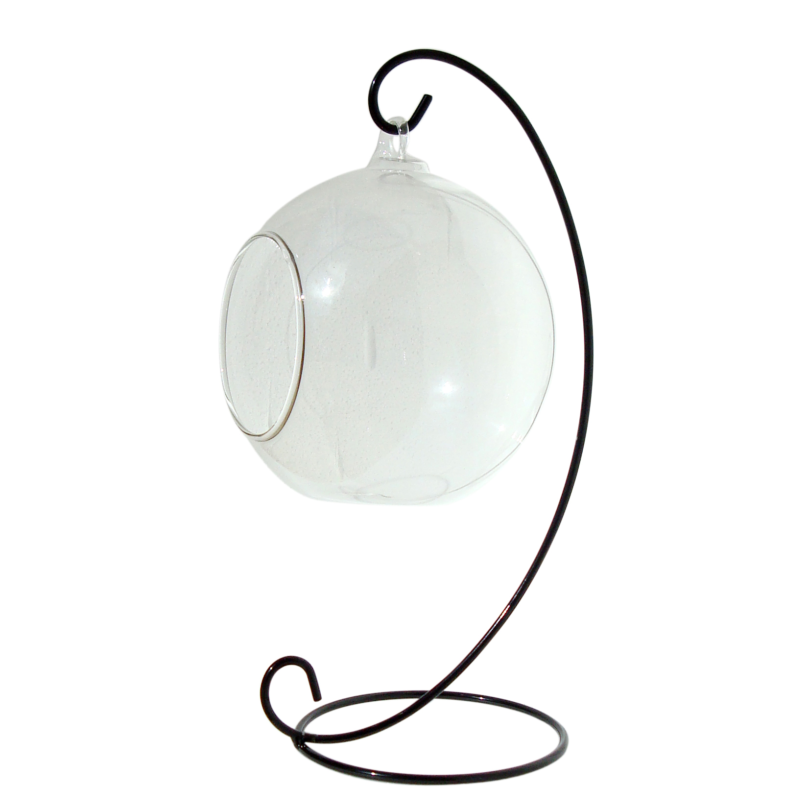 Hanging Glass Terrarium 10cm with Metal Stand