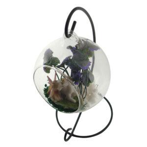 Glass Terrarium 10cm with Stand - Fairy & Unicorn