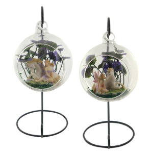 Glass Terrarium 10cm with Stand - Fairy & Unicorn