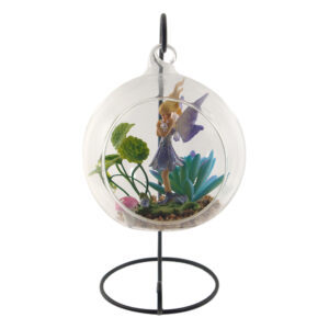 Glass Terrarium 12cm with Stand - Garden Fairy w/ Mushroom
