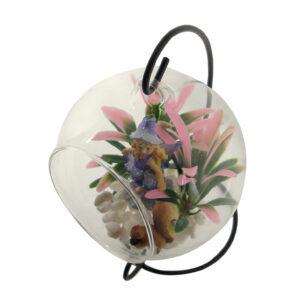 Glass Terrarium 12cm with Stand - Flower Fairy w/Squirrel - ETA 12/9/17