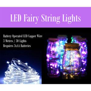 LED Fairy String Lights - 3 Metres / 30 Lights